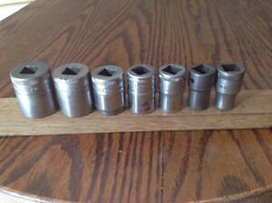 7 Vintage Britool Sockets 9 16 To 3 16 Whitworth With 1 2 Drive Y
