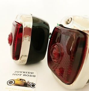 Hot Rod 1940 53 Chevy Tail Lights Black With Pol S s Bezels 1 Pr l h