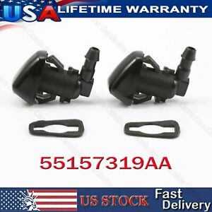 For Dodge Nitro Jeep Liberty Commander Windshield Washer Nozzle Jet Spray 2pcs