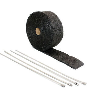 Exhaust Manifolds Fiberglass Heat Wrap Tape Thermal Wrap Black 1 5 X 5m Ties