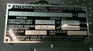 New Repop International Harvester Scout Travelall Truck Data Plate Engraved