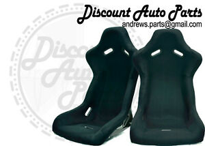 Spoon Style Light Bucket Pair Seats In Black Cloth Jdm Eg Ek Dc2 Dc5 Type R
