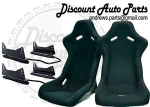 Spoon Style Light Bucket Seats In Black Cloth W Long Mount Sliders Pair