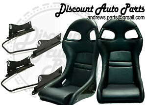996 Style Gt3 Seats In Black Pu Leather With Bracket Sliders Mounts For Porsche