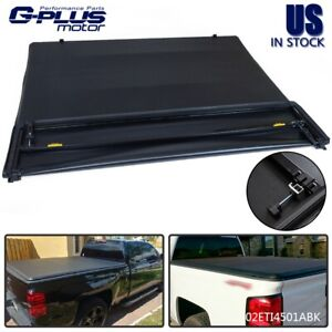 4 fold 5 8ft Truck Bed Tonneau Cover Lock Fold For 14 18 Chevy Silverado 1500