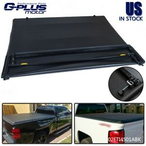 4 Fold 5 8ft Truck Bed Tonneau Cover Lock Fit For 14 18 Chevy Silverado 1500