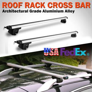 2x 48 Universal Car Top Roof Rack Cross Bar Luggage Carrie Aluminum Silver