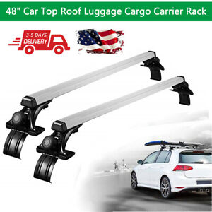 Pair 48 Car Top Luggage Roof Rack Cross Bar Window Frame Universal Suv Us Stock