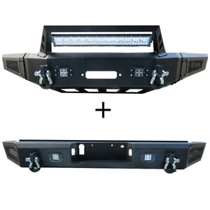 Front Bumper And Rear Bumper With Led Lights Winch Plate Fit 15 17 Ford F150
