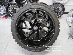 24x12 Inch Black Wheels 35 Mt Tires Package Chevy 2500 3500 8 Lug New Set 4