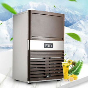 Automatic Commercial Ice Maker Stainless Steel Cube Ice Machine 130lbs 24h