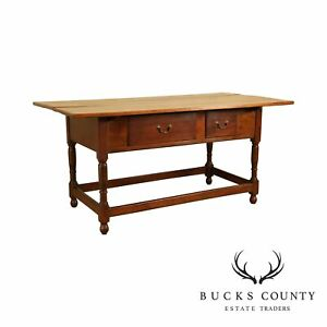 Antique 19th Century American Walnut 2 Drawer Tavern Table
