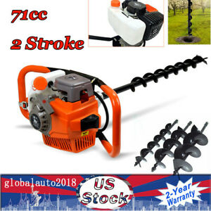 71cc Gas Powered Earth Auger Post Hole Digger Fence Borer 3 Drill Bits 3 2kw Us