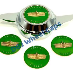 Caprice Green gold Lowrider Wire Wheel Knock off Metal Chips Emblems Size 2 25