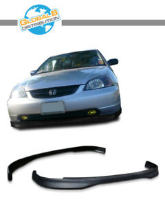 Global 8 Polyurethane Front Bumper Lip For 2001 2003 Civic 2 4d Type Rbm Finish