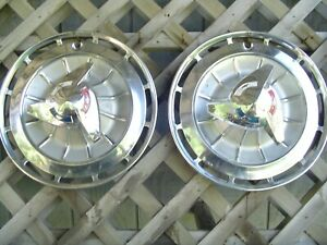 Two 1962 62 Chevrolet Chevy Impala Ss Hubcaps Wheel Covers Antique Vintage