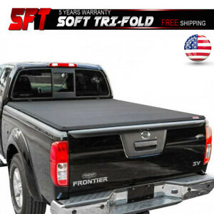 5ft 60in Bed Black Soft Tri Fold Vinyl Tonneau Cover Fits 15 18 Nissan Frontier