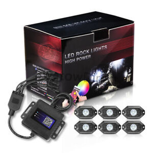 Cree Led Rgb Off Road Rock Lights 6 Pods Neon Lamp Under Timing Music Accent Rzr
