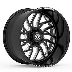 22x14 Tis F51bm1 Forged Gloss Black Milled Wheels 6x135 76mm Set Of 4