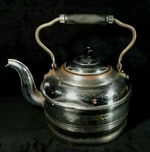Antique Rochester Chromed Copper Tea Kettle W Lid Wood Handle Good Functional