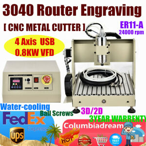 Usa 4axis Usb 3040 Cnc Router Engraver Metal wood Milling Machine 800w 3d Cutter