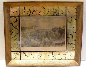 Antique Art Modern Combed Cove Picture Frame Black Gold Leaf Reverse Painted