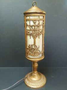 Antique Bent Panel Slag Glass Parlor Table Lamp Scenic W Swans Unusual Form Old