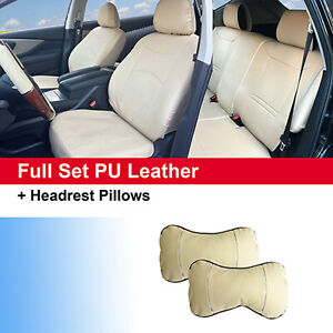 Pu Leather Car 5 Seats Cushion Front Rear Full Set For Buick 59255 Tan