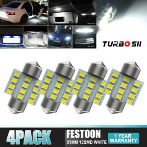 4x White Festoon 31mm 12smd Chips Led Corner Light Bulbs 3021 For Cadillac Cts