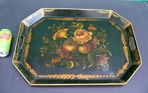 Large Antique Folk Art Tole Toleware 22 X 16 Hand Painted Serving Tray Platter