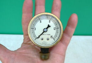 Vintage Antique Old Marsh Instrument Co 15 000 Lb Pressure Instrument Gauge 2 5