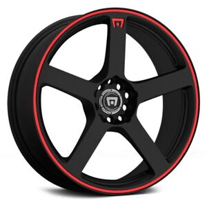 4 17 Mr116 17x7 Motegi Wheels Rims 4 Lug 4x100 4x4 50 Black Red Mr11677098740