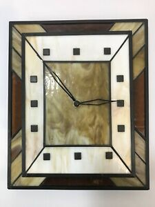 Mid Century Modern Slag Glass Brutalist Wall Clock After Herman Miller Knoll