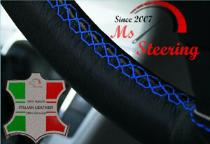For Acura Integra 89 01 Black Leather Steering Wheel Cover Royal Blue Stit