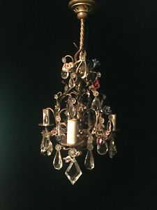 Very Fine Gilt Dore Bronze Small French Porcelain Flower And Crystal Chandelier