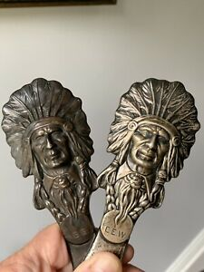 Rare Pair Of Sterling Silver Indian Chief Letter Opener Kerr Will Sell Singly