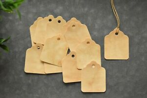Coffee Stained Hang Tags Set Of 25 Primitive Christmas Vintage Gift Tags