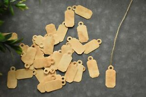 25 Tiny Jewelry Coffee Stained Hang Tags Primitive Christmas Gift Price Tags