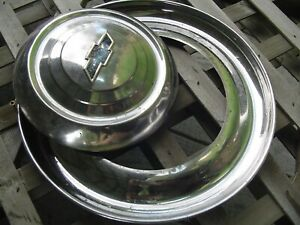 1949 1953 Chevrolet Trim Rings Center Caps Hubcaps Wheel Cover Vintage Classic