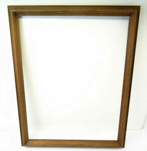 Antique Old Brown Wood Molded Rectangular Wall Hanging Art Picture Frame Used