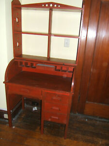 Great Red Vintage 1930s Child S Rolltop Desk W Book Hutch 4 Drawers Great Cond
