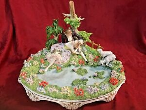Sitzendorf Dresden Lace Figurine Lovers By Pond Lambs Pastoral Scene Huge