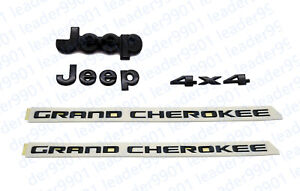 5pcs 2014 2018 Jeep Grand Cherokee Black Front Rear Nameplate Emblem Set Mopar