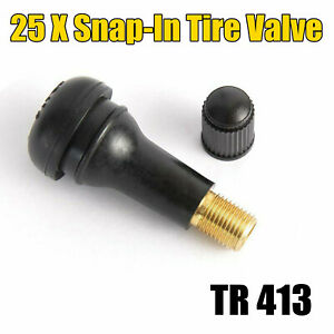 25 Pcs Black Rubber Most Popular Valve Tr 413 Snap In Tire Valve Stems Short