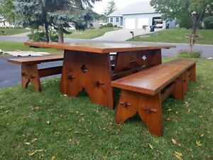 Rare Antique Adirondack Cabin Lodge Pine Harvest Dining Table Benches Chairs