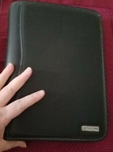 Franklin Covey Planner Binder Black Leather 8 x11 Zippered 7 Ring Many Pockets