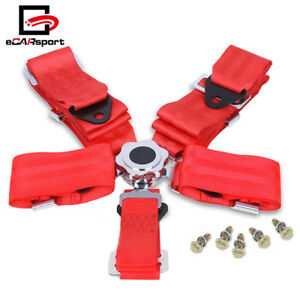 3 Inch 5 Point Quick Release Cam Lock Seat Belt Racing Harness Belt Red