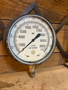 Vintage Acco Helicoid Gage Gauge Usa Psi 10 000 Steam Ran Cast Iron Boiler Glass