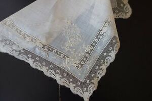Antique Lace Fine Lawn And Valencienne Handkerchief W Whitework Embroidery