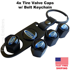4pcs Ford Tire Valve Cap Stem Cover With Matching Belt Keychain